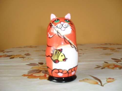 5 pieces ginger cat matryoshka